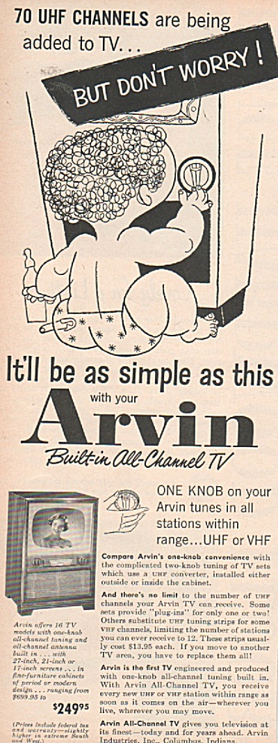 Arvin built in all channel TV ad 1953` (Image1)