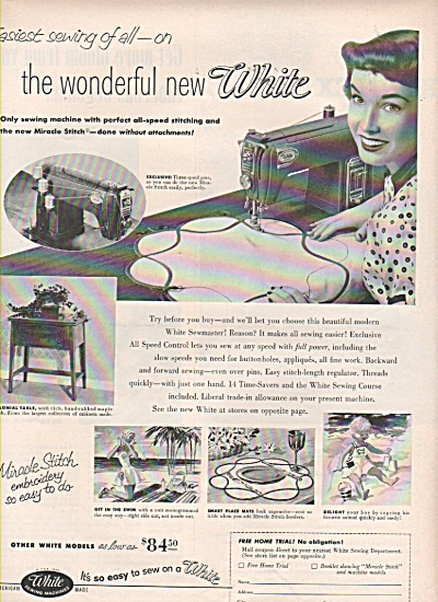 White Sewing machine ad 1953 (Image1)