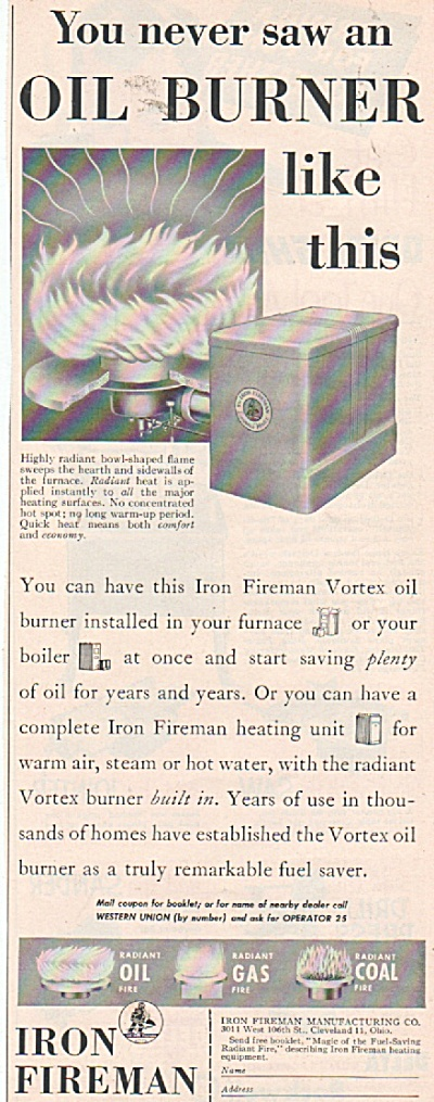 Iron Fireman automatic heating equipment ad 1953 (Image1)