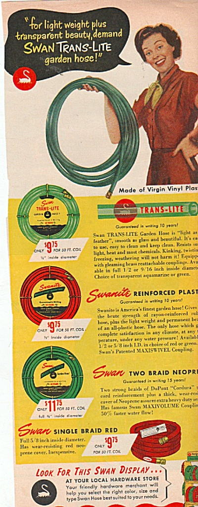 Swan rubber company - hoses ad 1953 (Image1)