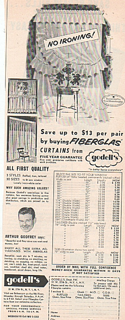 Godell's fiberglascurtains ad 1953 (Image1)