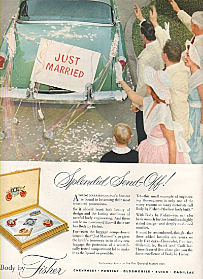 1553 Fisher Body ~ JUST MARRIED Newlyweds SEND OFF AD (Image1)
