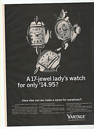 Vantage lady's watch ad 1965 (Image1)