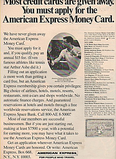 American Express money card ad 1970 (Image1)