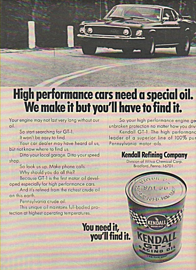 KLendall GT-1 racing oil ad 1970 (Image1)
