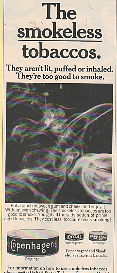 Copenhagen and Skoal tobaccos ad 1970 (Image1)