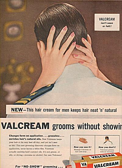 Valcream hair cream for men ad 1957 (Image1)