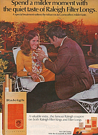 Raleigh filter longs cigarettes ad 1970 (Image1)