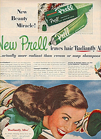 New Prell shampoo ad 1951 BEAUTIFUL MODEL (Image1)