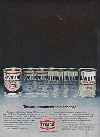 Texaco Havoline Motor Oil Ad 1970