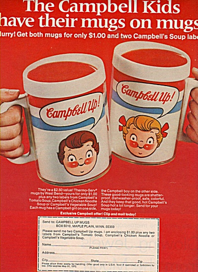 Campbell kids mugs ad 1970 (Image1)
