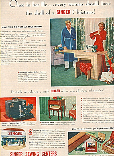 Singer Sewing Centers Ad 1951