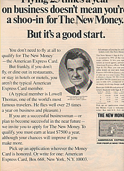 American Express -LOWELL THOMAS  AD    1970 (Image1)