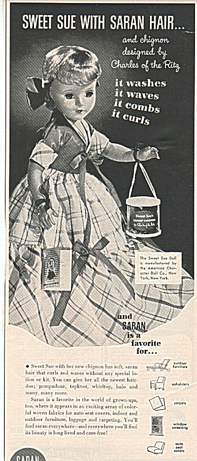 The Saran yarns SWEET SUE DOLL ad 1951 (Image1)