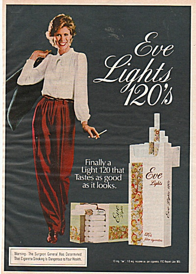 Eve lights 120's cigarettes ad 1981 (Image1)