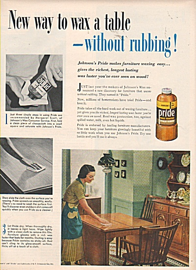 Pride furniture polish - Johnson's ad 1952 (Image1)