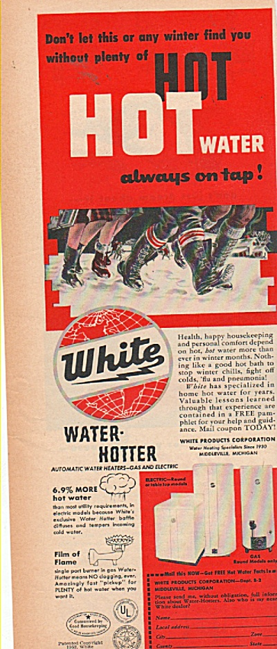 White hot water heaters ad 1952 (Image1)