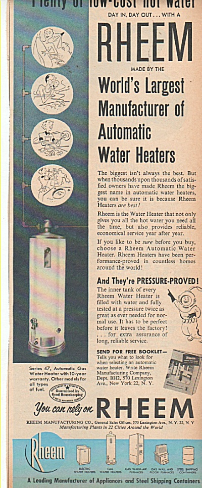Rheem automatic water heaters ad 1952 (Image1)