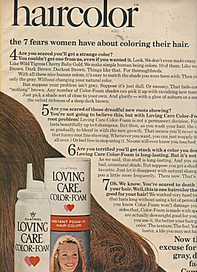 Loving care color foam ad  by Clairol 1971 (Image1)