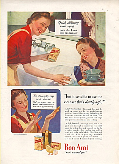 Bon Ami cleanser ad 1942 OLD SINK 2 WOMEN (Image1)