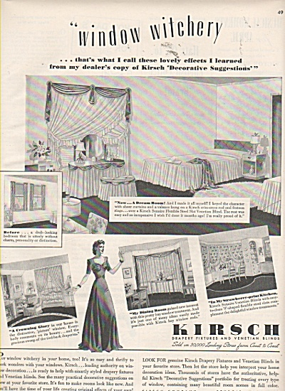 Kirsch drapery fixtures and venetian blinds ad 1942 (Image1)