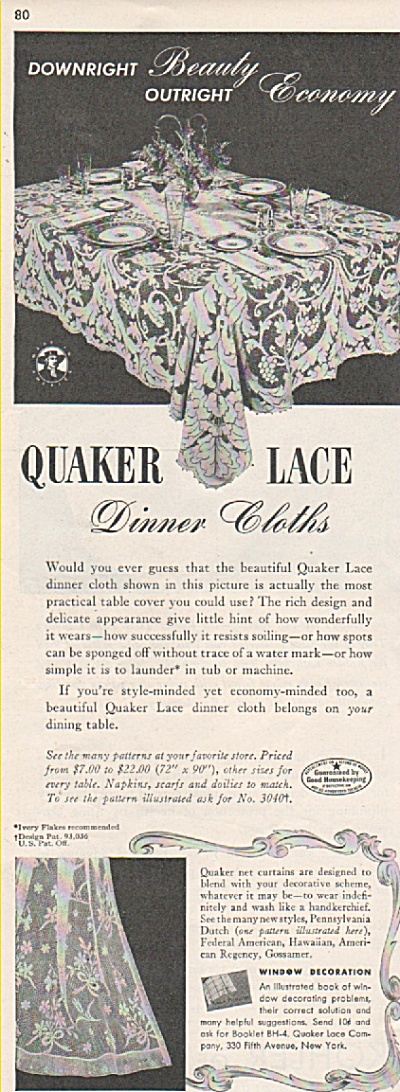 Quaker lace dinner cloths ad 1942 (Image1)
