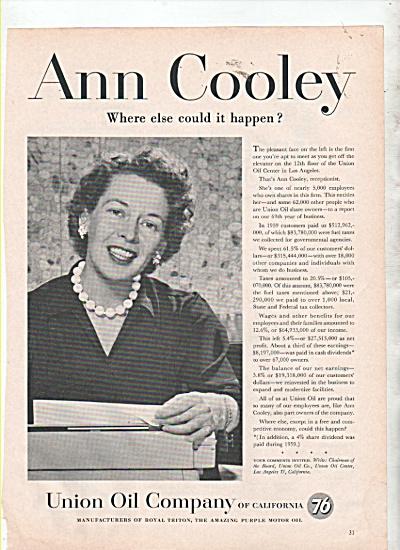 Union Oil Company - ANN COOLEY  ad 1960 (Image1)