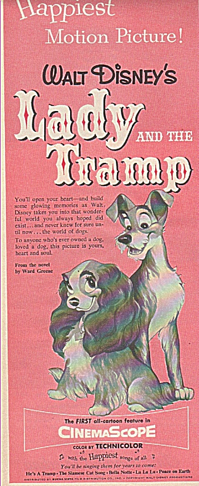 Movie: Lady And The Tramp Ad 1955