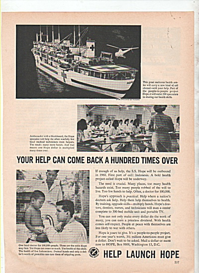 S. S. Hope boat ad 1960 (Image1)
