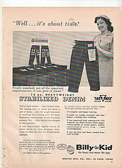 Billy The Kid Denim Jeans Ad 1960