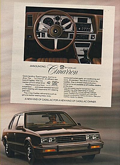 Cadillac Cimarron ad 1981 (Image1)