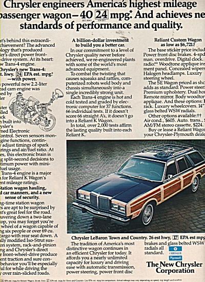 Chrysler Reliant K Wagon- LeBaron Town and country ad ` (Image1)