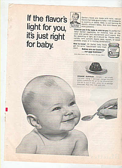 Gerbers strained foods ad 1969 (Image1)