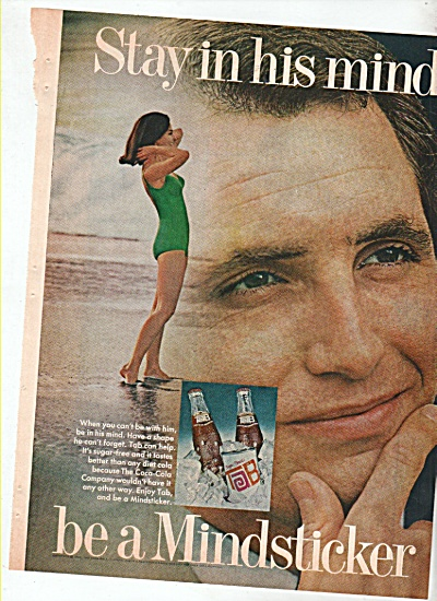 Tab soft drink ad 1969 Stay in His Mind ~ Be a Mindstic (Image1)