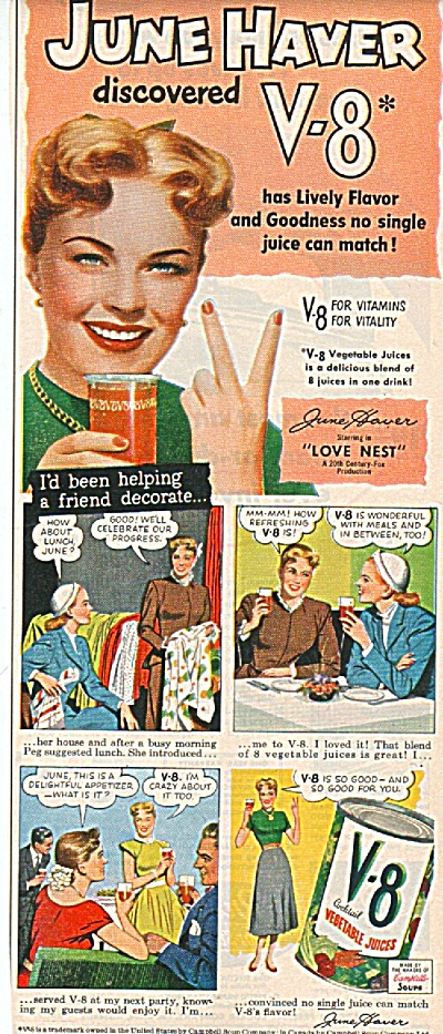 V=8 vegetable juices - JUNE HAVER - ad 1951 (Image1)