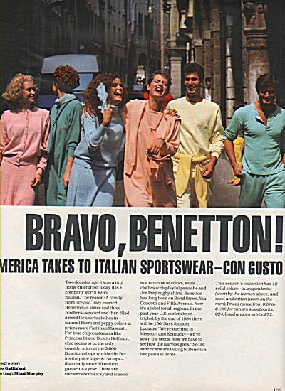 America Takes To Italian Spsortswear - 1984