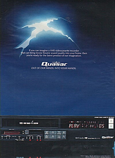 Quasar videocassette and television ad 1984 (Image1)