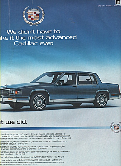 Cadillac fleetwood for 1985 - ad in 1984 (Image1)