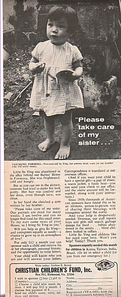 Christian Childlren's Fund, Inc. ad 1968 (Image1)