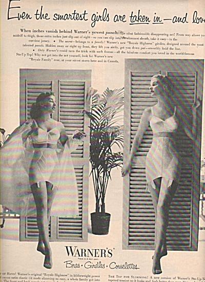 Warner's bras - girldes- corselettes ad 1953 (Image1)