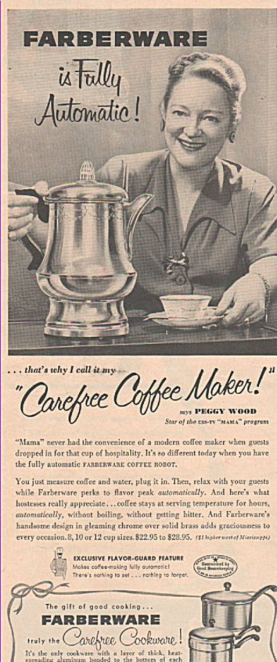 Farberware cookware- PEGGY WOOD  ad 1953 (Image1)