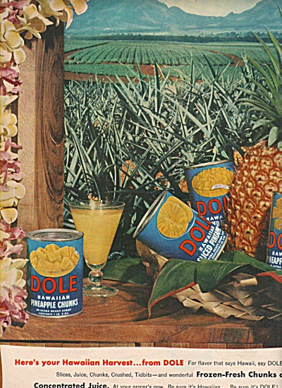 Dole Pineapple chunks, slices, tidbits ad 1953 (Image1)