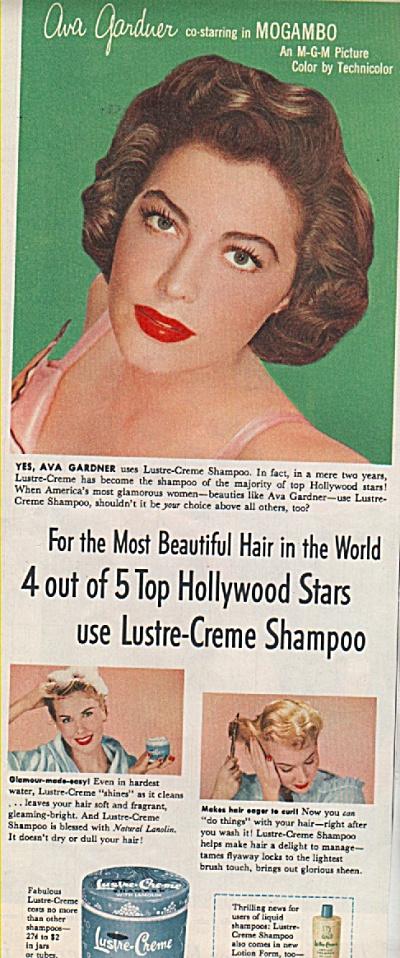 Lustsre Creme shampoo - AVA GARDNER  ad 1953 (Image1)