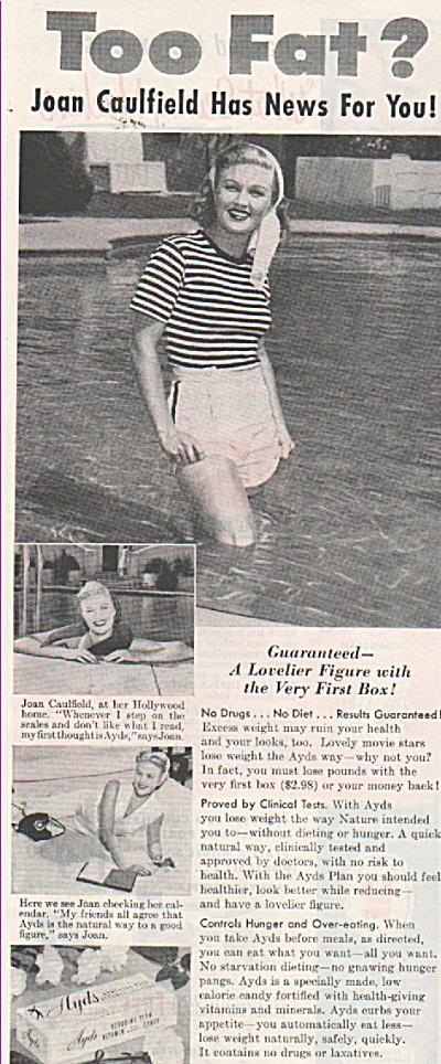 Ayds vitamins ad - JOAN  CAULFIELD ad 1953 (Image1)