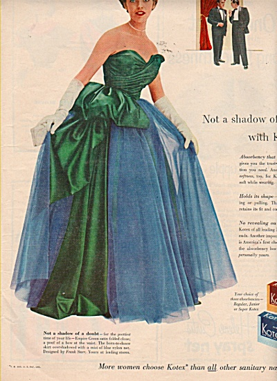 Kotex napkins ad 1953 MODEL IN EVENING GOWN (Image1)