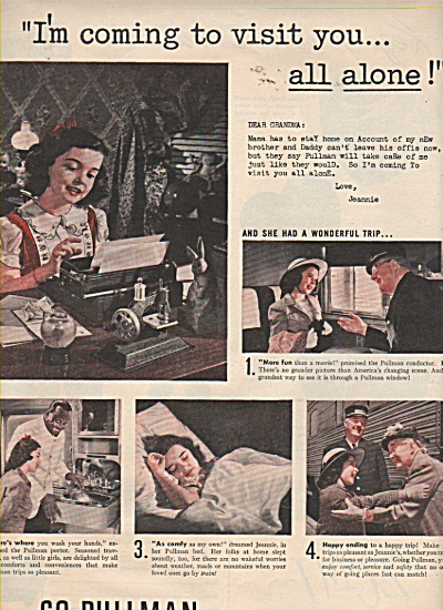 Go Pullman ad 1946 GIRL TRAVELING TO GRANDMA (Image1)