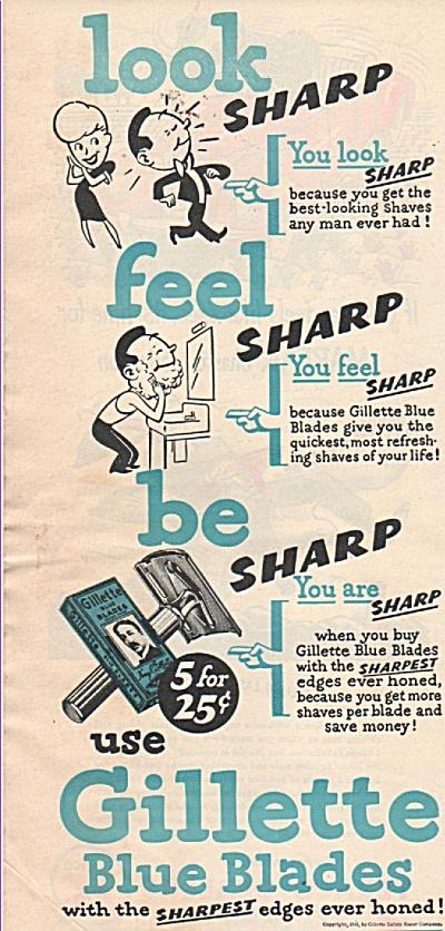 Gillette blue blades ad 1946 (Image1)