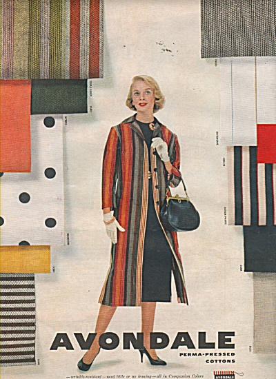 Avondale perma pressed cottons ad 1958 FASHION MODEL (Image1)