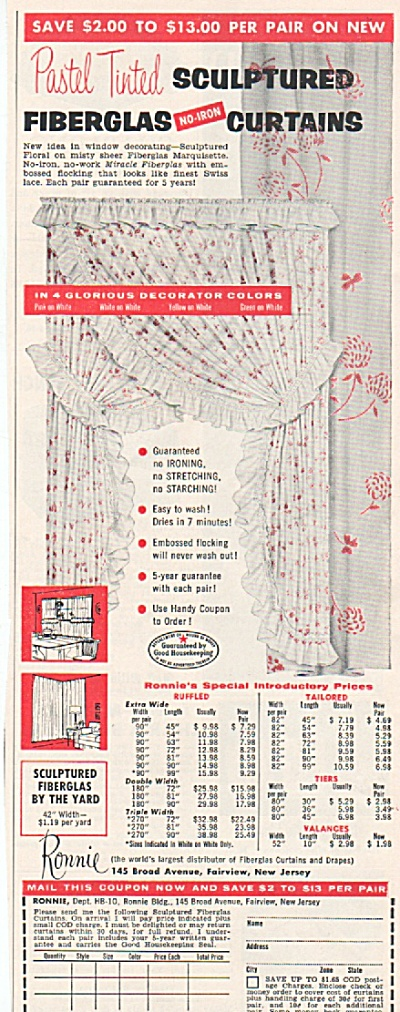 Sculptured Fiberglas Curtains Ad 1956
