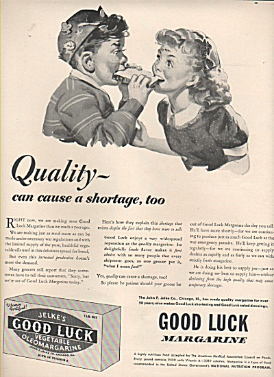 Good Luck Margarine Ad 1943